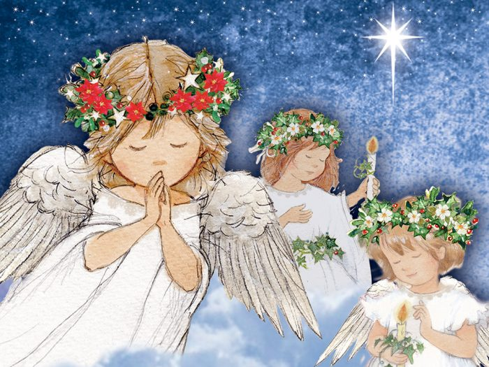 Trio of Angels Xmas Card