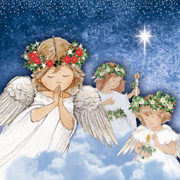 Trio of Angels Xmas Card