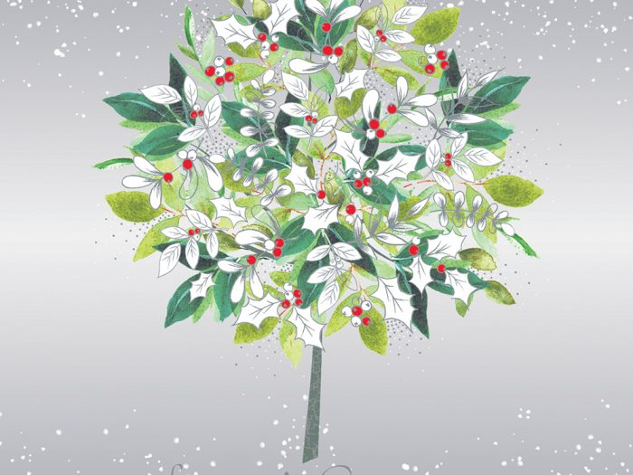 White Holly Bush Xmas Card