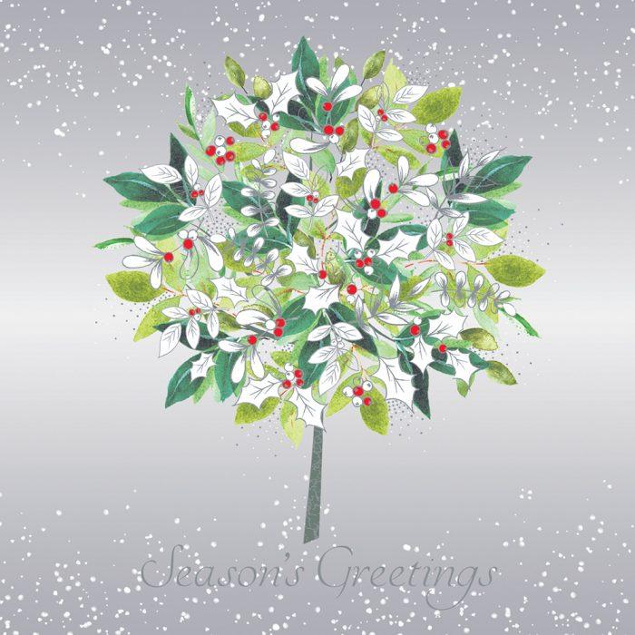 White Holly Bush Xmas Card