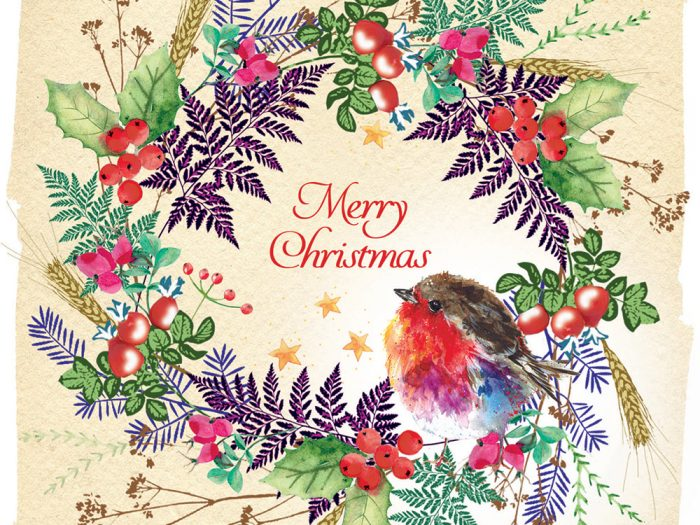 Robin on Wreath Xmas Card