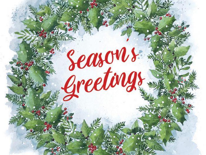 Seasons Greetings Wreath Xmas Card